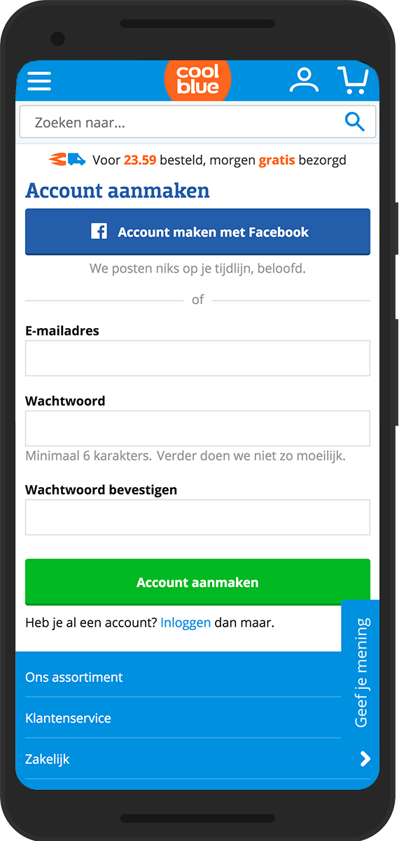coolblue mobile account aanmaken