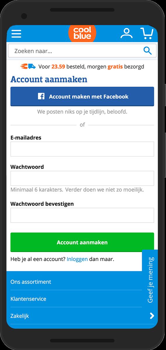 coolblue mobile account aanmaken